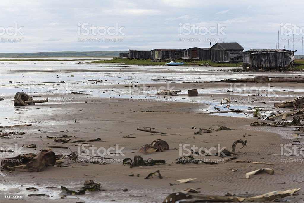 Garbage on the shore royalty-free stock photo