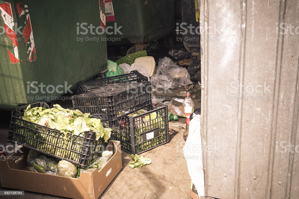 Garbage spot with vegetables stock photo