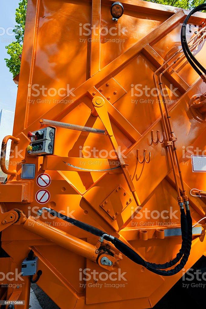 Garbage truck detail stock photo