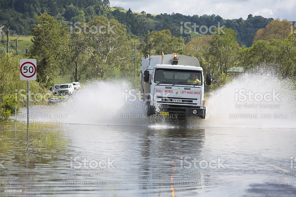 Garbage Truck Floodwater royalty-free stock photo