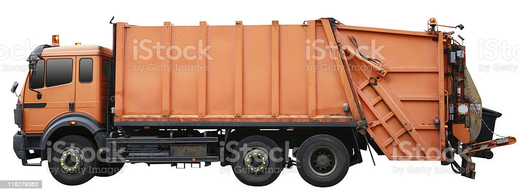 Garbage truck (clipping path included) stock photo
