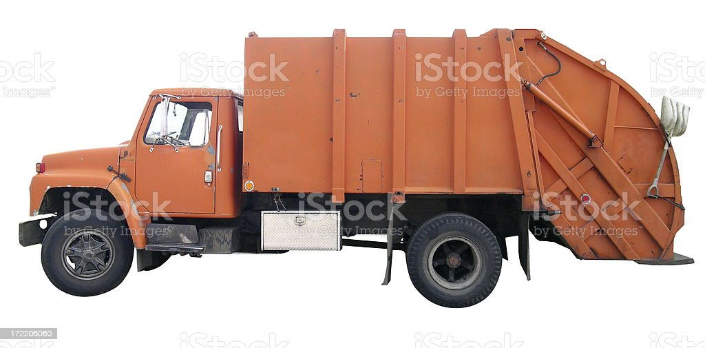 Garbage truck with clipping path stock photo