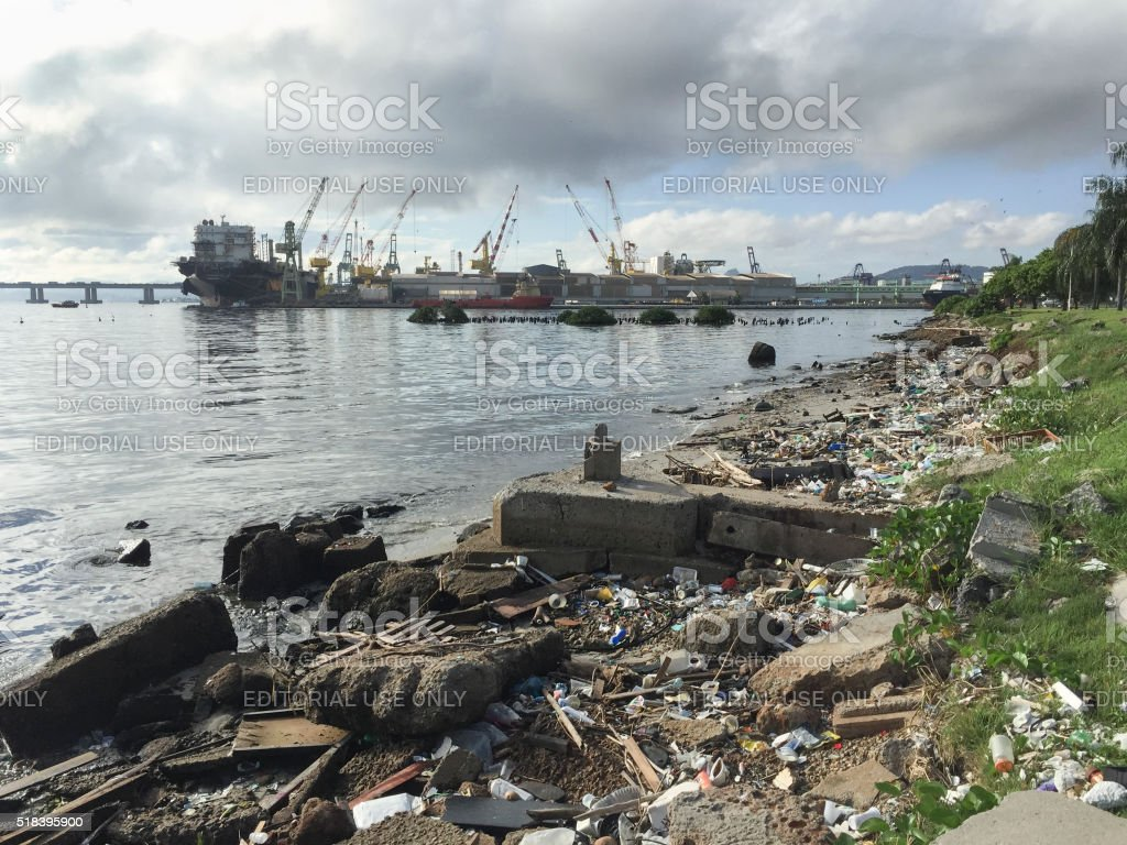 Garbage washed on the shore of Guanabara Bay stock photo