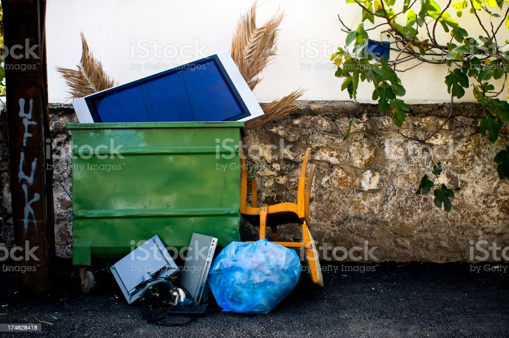 Garbages on street royalty-free stock photo