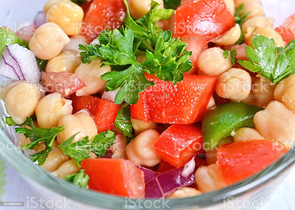 Garbanzo bean salad stock photo