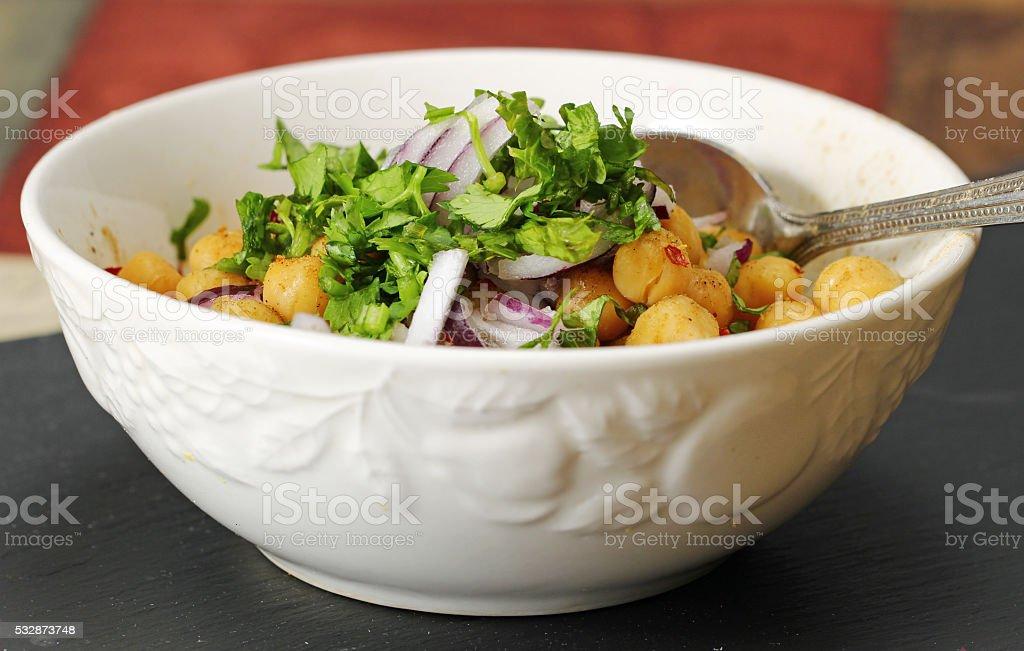 Garbanzo beans salad stock photo