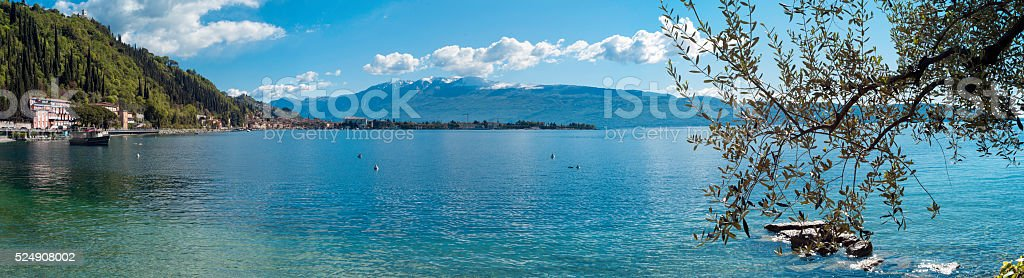 Garda lakeside wide panorama. Color image stock photo
