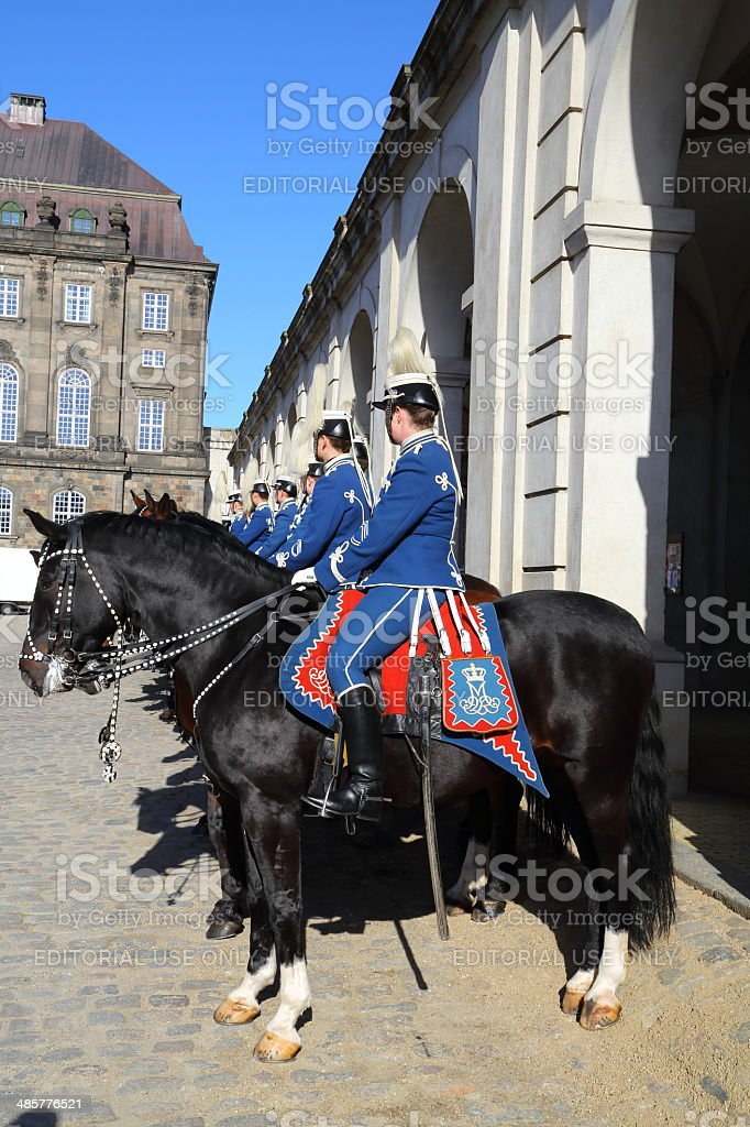 Gardehusarer at Christiansborg Slot stock photo