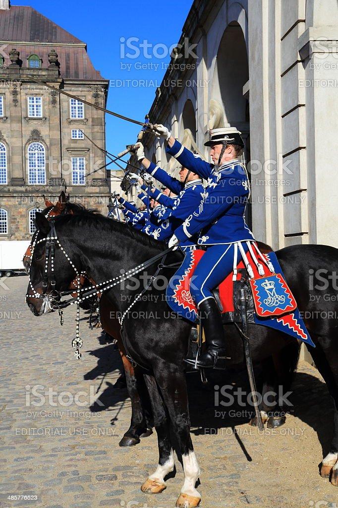Gardehusarer at Christiansborg Slot stock photo