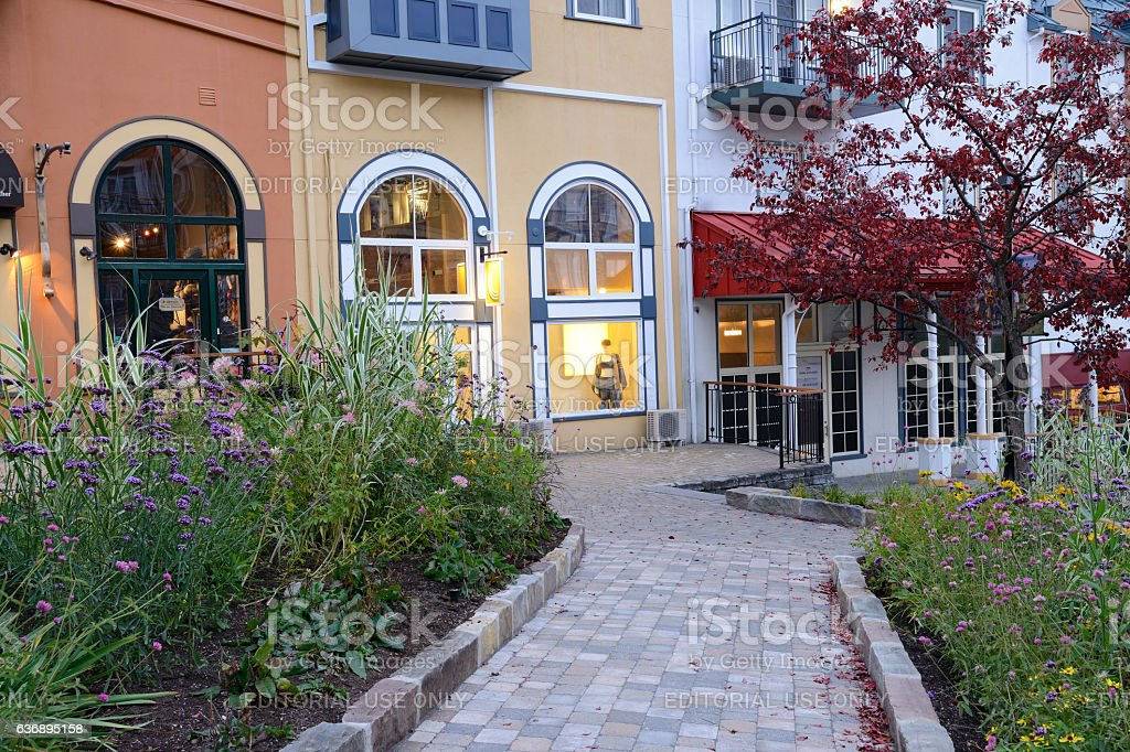 Garden and Boutique Stores in Mont Tremblant Resort stock photo
