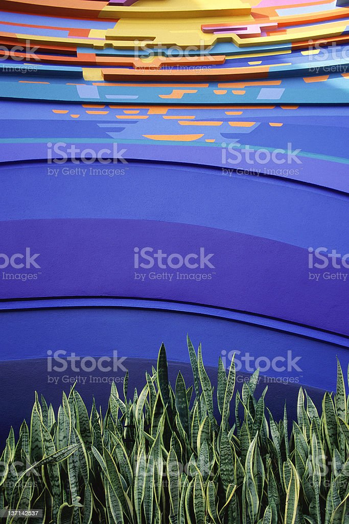 Garden and Building Detail stock photo