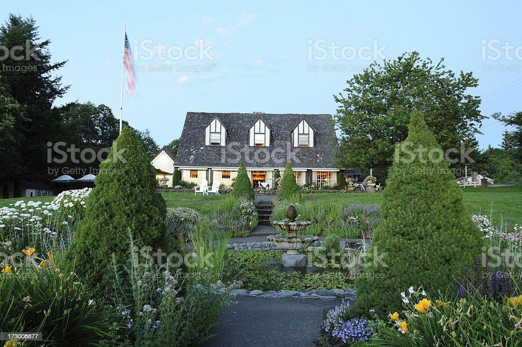 Garden and Inn royalty-free stock photo