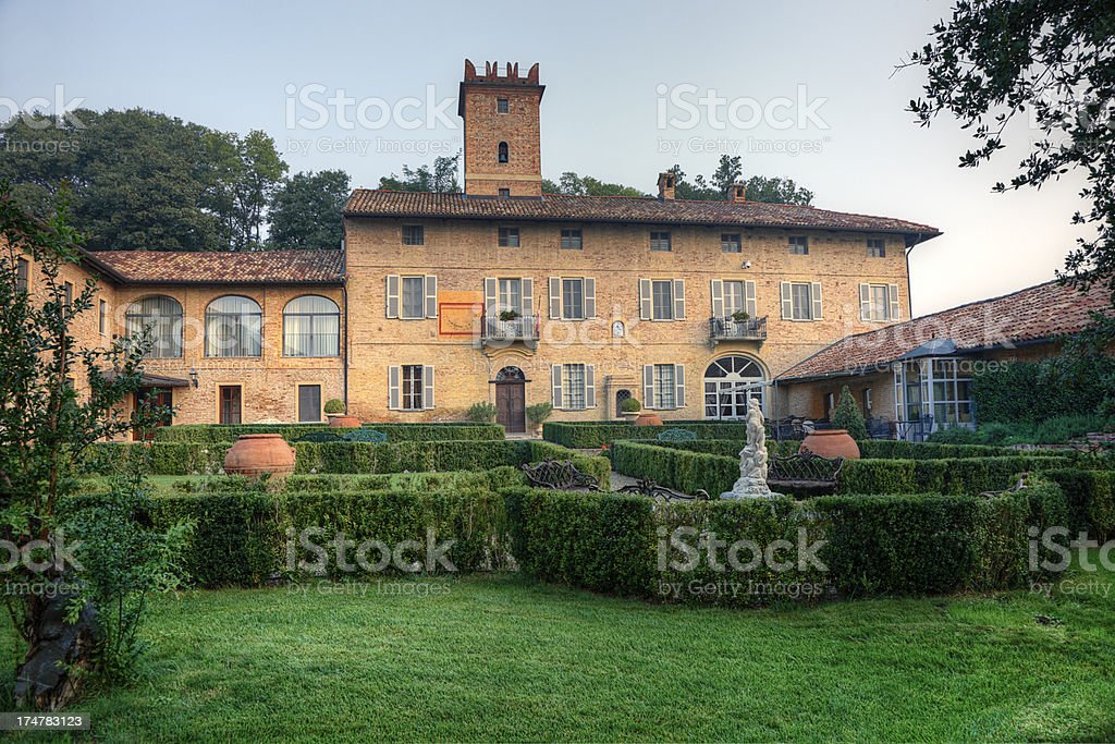 Garden and Villa in Northern Italy stock photo