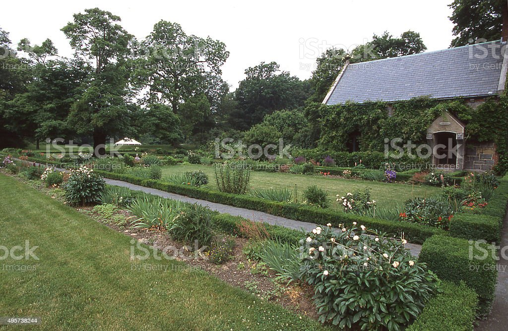 Garden and walkway John Adams National Historic site Quincy Massachusetts stock photo