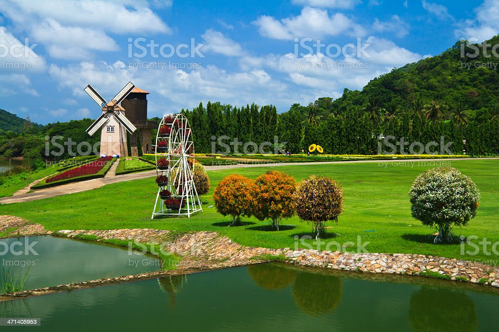 Garden And Windmill royalty-free stock photo