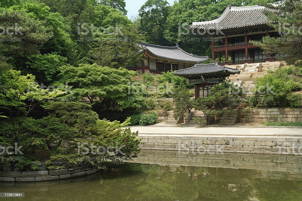Garden at Changdeokgung Palace in Seoul stock photo