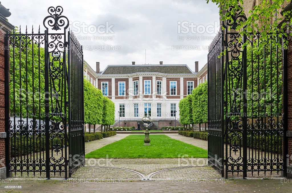 Garden at Council of State in The Hague, Netherlands stock photo