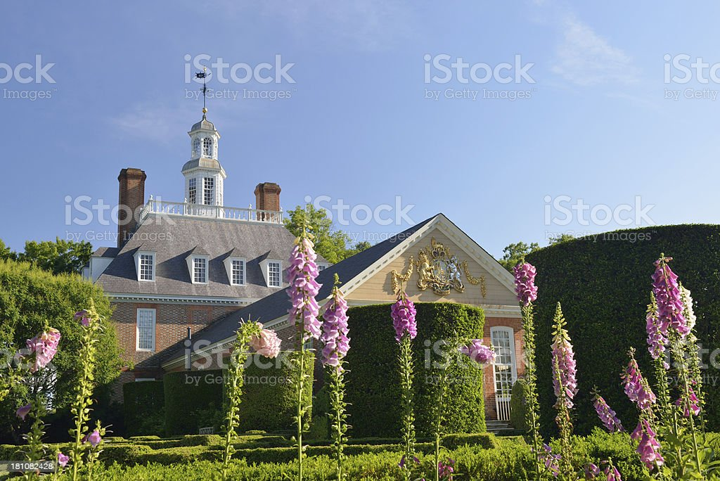 Garden at Governor's Palace in Williamsburg stock photo