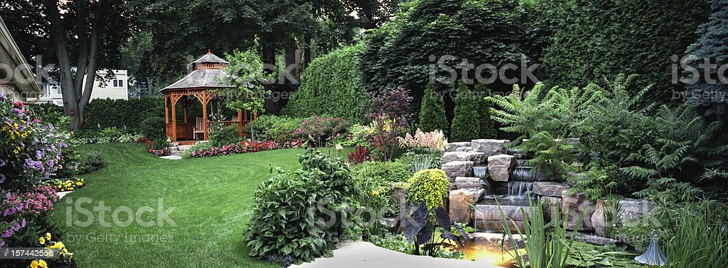 Garden at Night stock photo