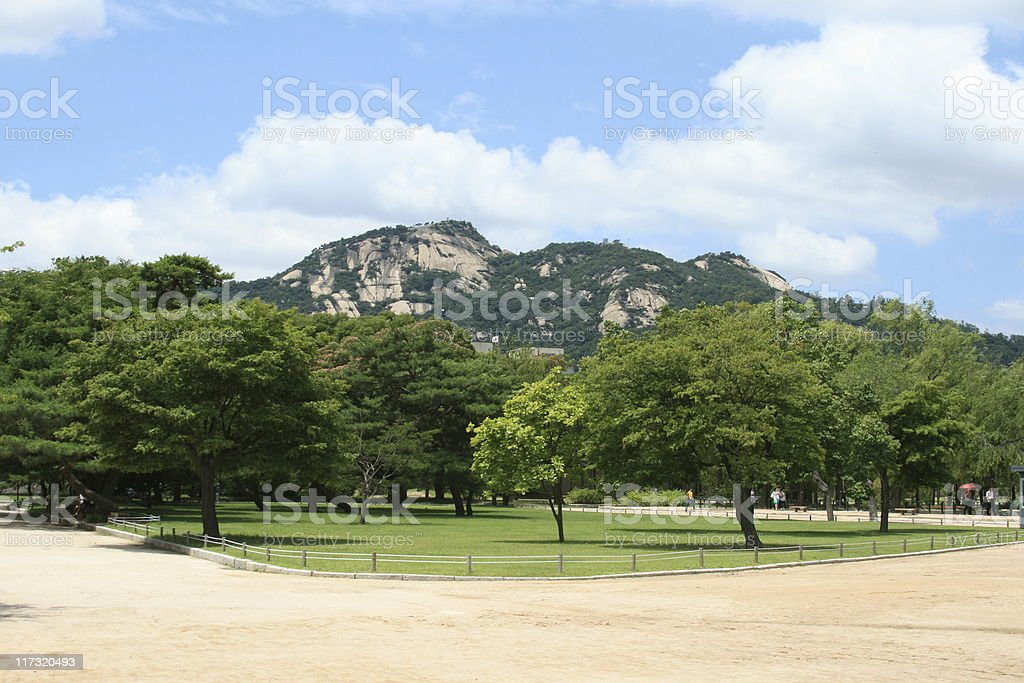Garden at the Gyeongbokgung palace. royalty-free stock photo