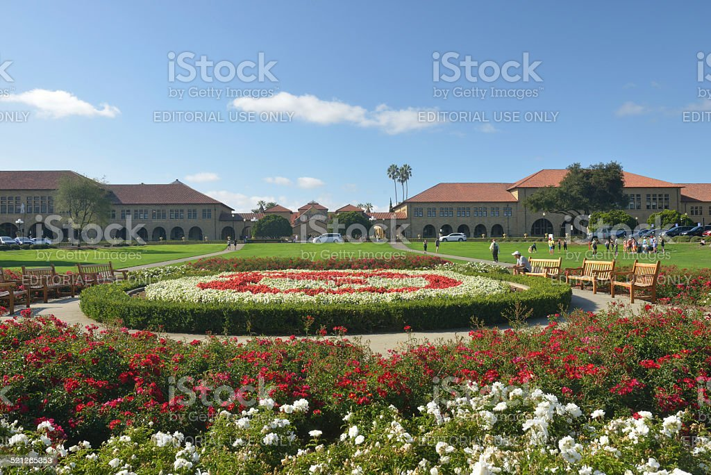 Garden at the Oval Park of Stanford University stock photo