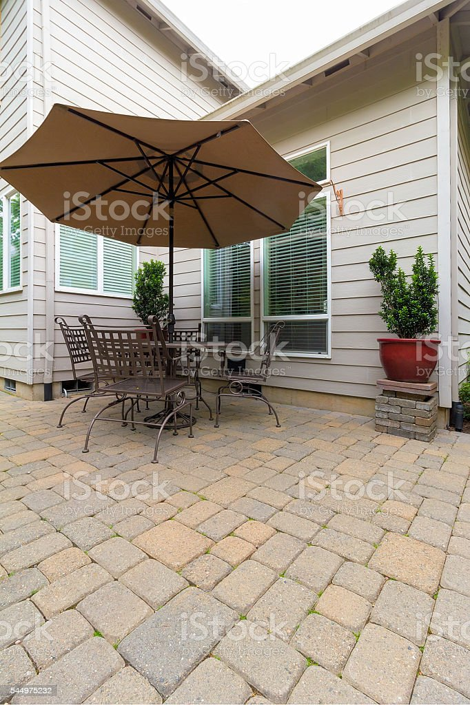 Garden Backyard Patio with Furniture stock photo
