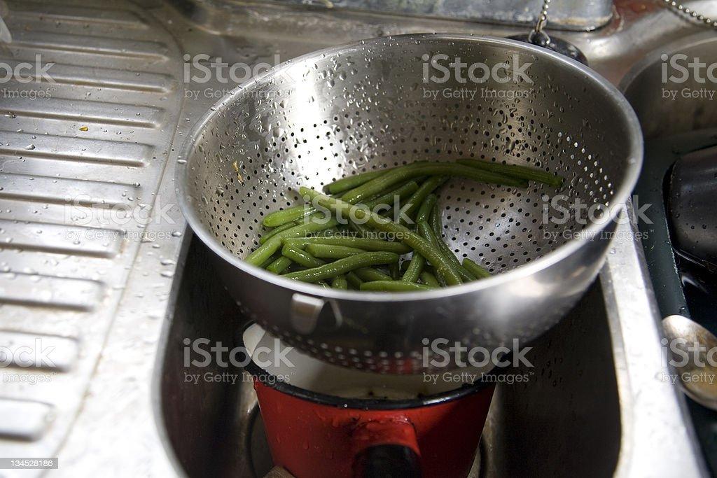 Garden Beans in Colander stock photo