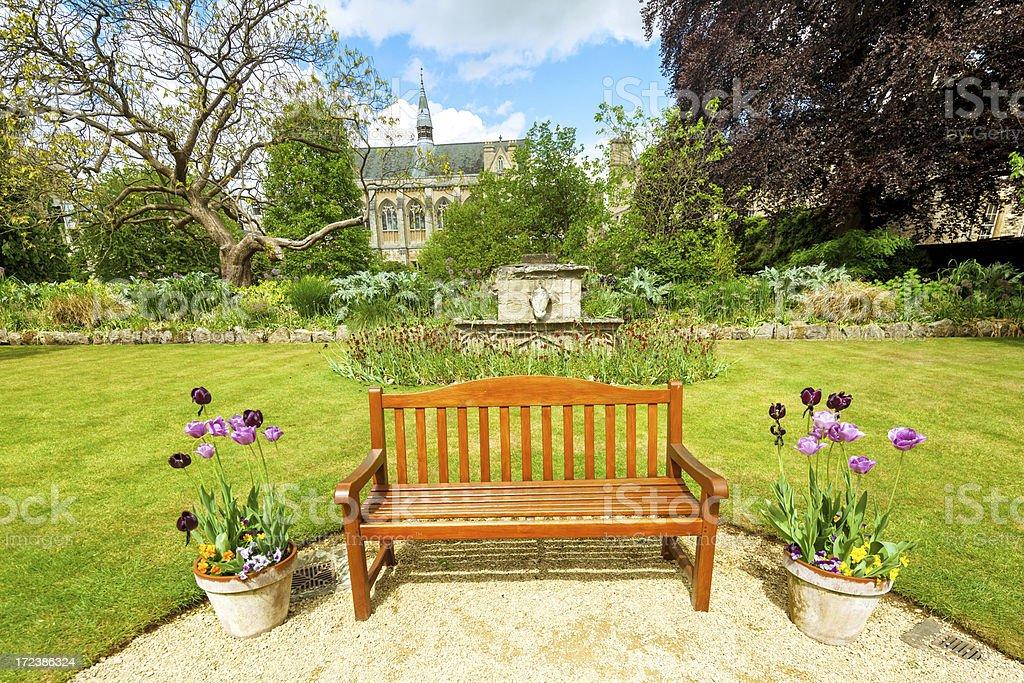 Garden bench in Oxford royalty-free stock photo
