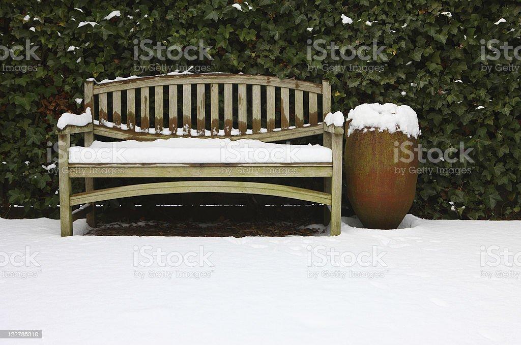 Garden Bench In Snow stock photo