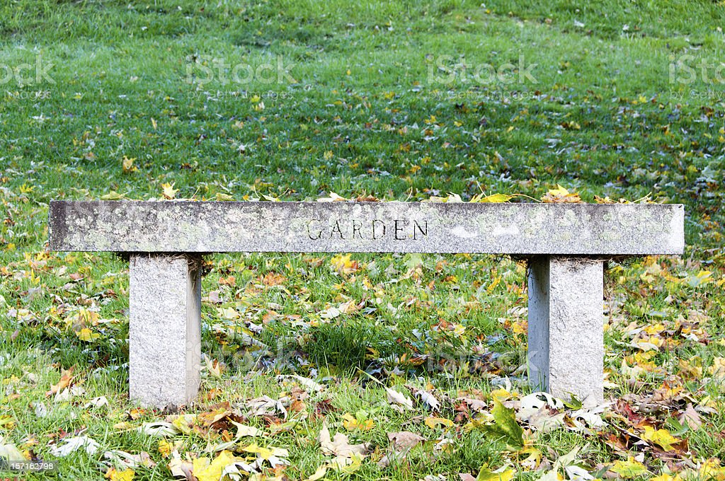 Garden bench in the grass stock photo