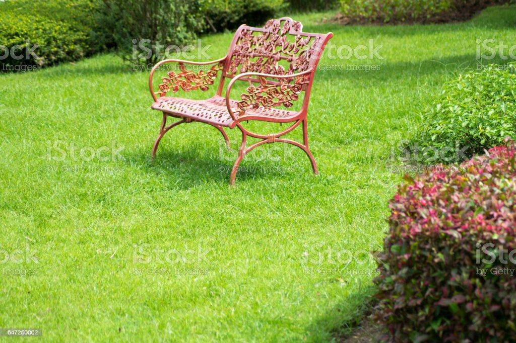 Garden bench stock photo