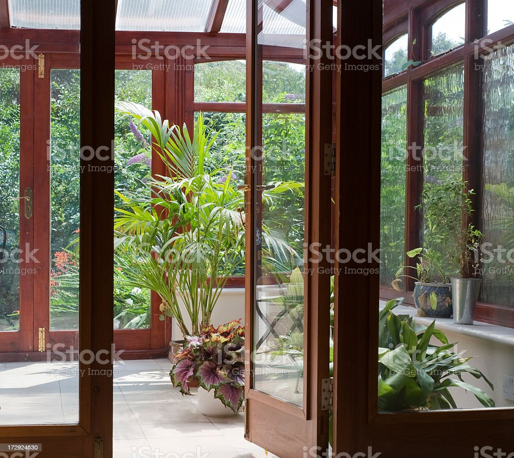 Garden bohemian room filled with plants stock photo