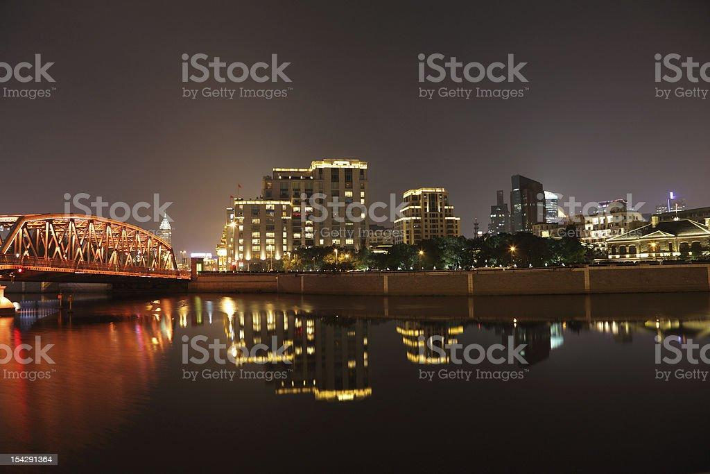 Garden Bridge at night, Shanghai stock photo