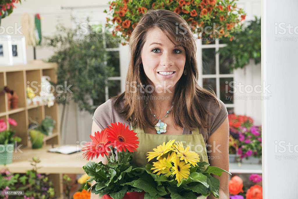 Garden Canter & Flower Shop Small Business Entrepreneur Owner Close-up royalty-free stock photo
