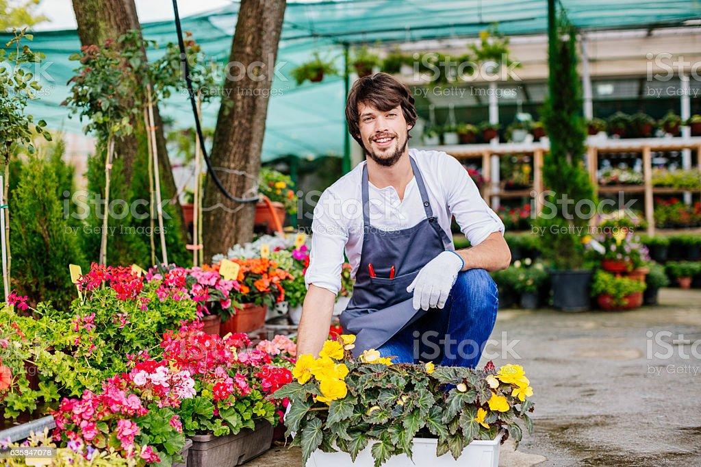 Garden center owner stock photo