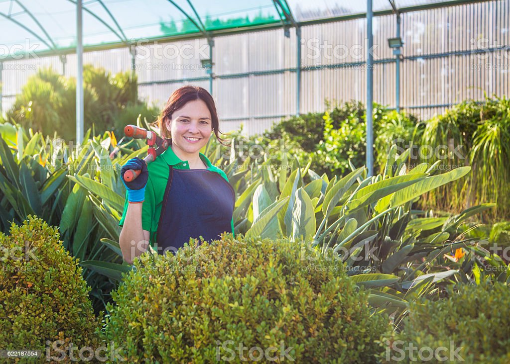Garden center owner with shears stock photo