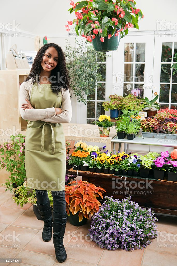 Garden Center Retail Small Business Woman Sales Person Owner Vt royalty-free stock photo