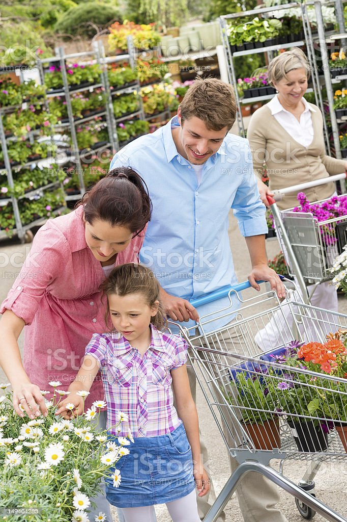 Garden centre family shopping flowers royalty-free stock photo