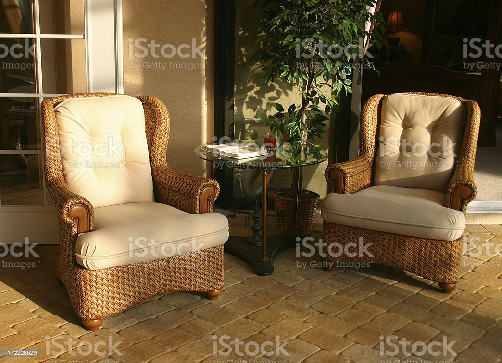 Garden Chairs at Sunset royalty-free stock photo