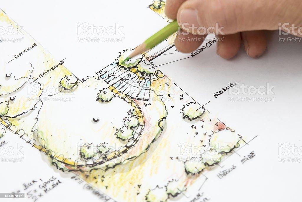 Garden Design Blueprint Sketching royalty-free stock photo
