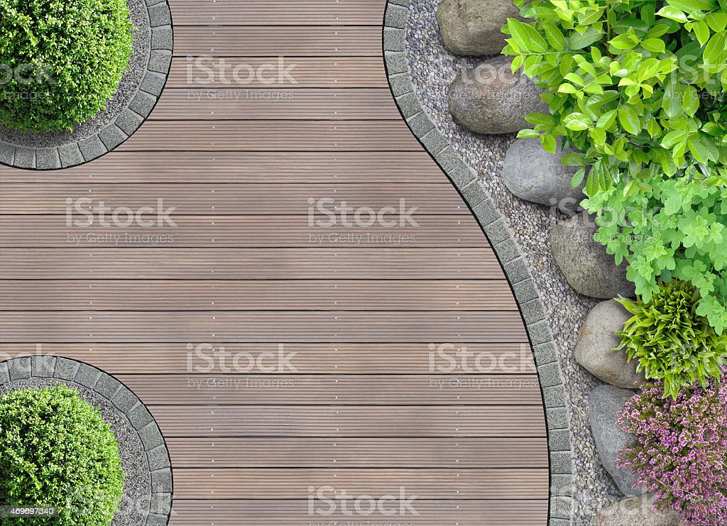 garden detail in top view stock photo
