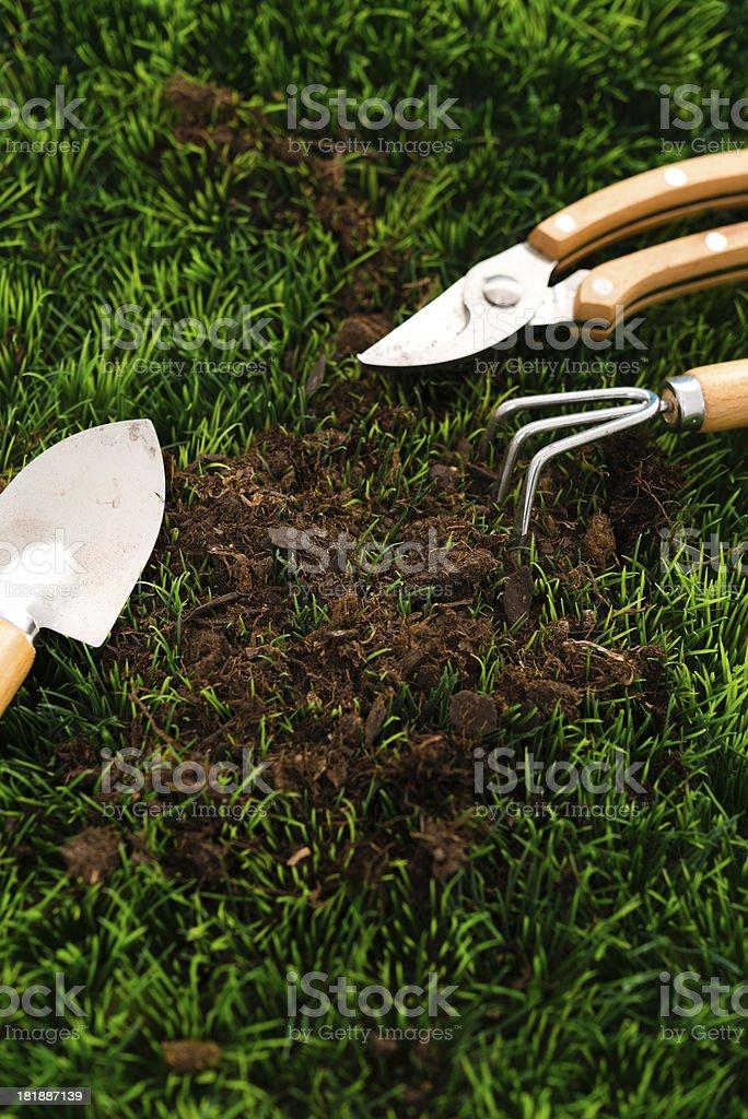 garden equipment on grass royalty-free stock photo