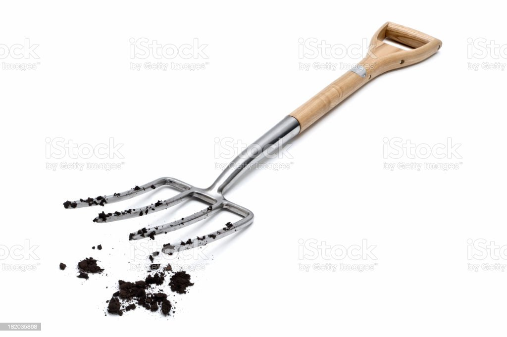 Garden Fork and Soil stock photo
