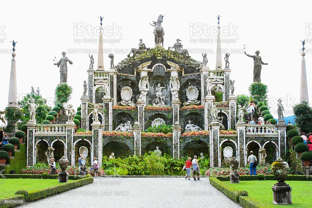 Garden Fountain at Borromeo Palace, Isola Bella, Lake Maggiore, Italy. stock photo