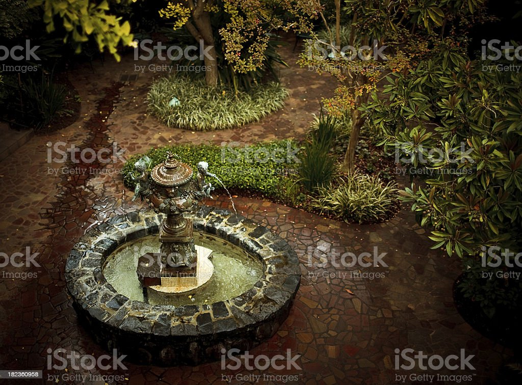 garden fountain in a patio royalty-free stock photo