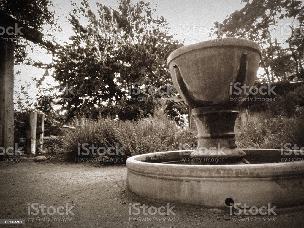 Garden fountain (pinhole photo) stock photo