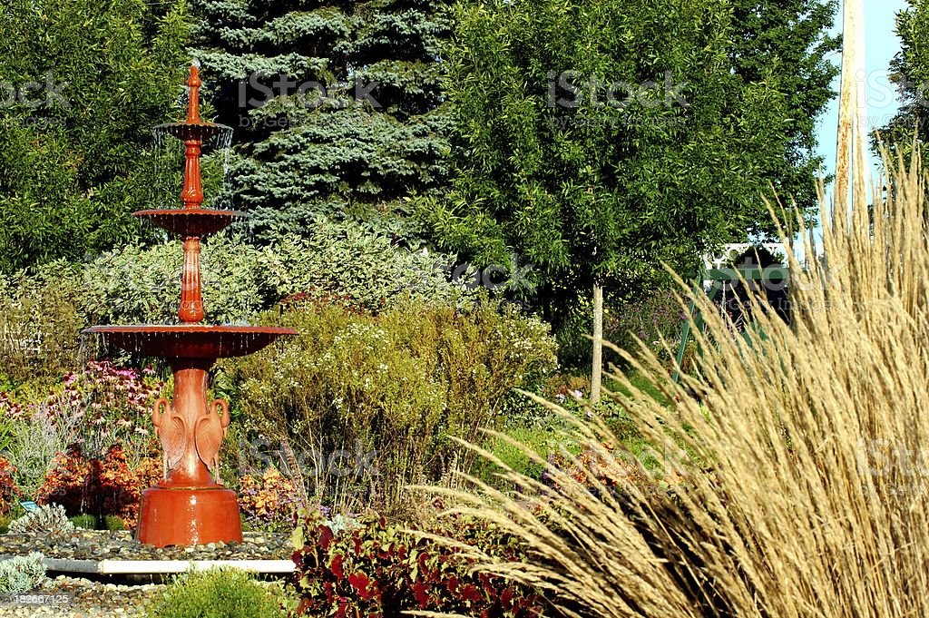 Garden fountain stock photo
