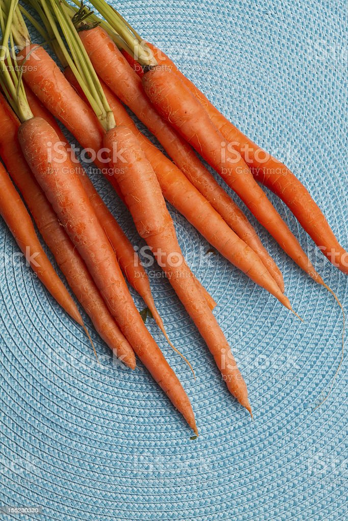 Garden Fresh Carrots on Blue Background royalty-free stock photo