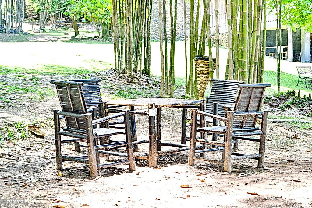Garden Furniture Emtry Wood chair in the outside