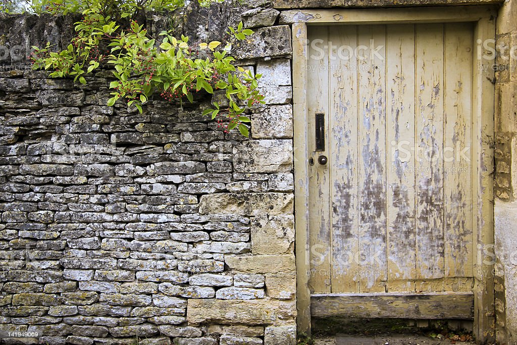 garden gate dry stone wall background cotswolds royalty-free stock photo